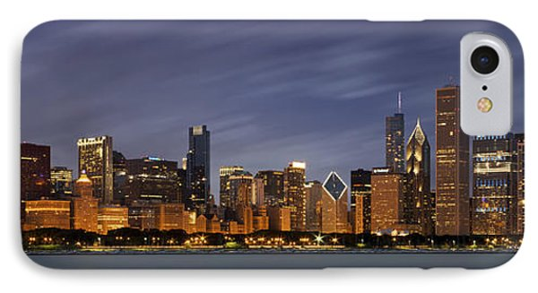 Shore iPhone 7 Case - Chicago Skyline At Night Color Panoramic by Adam Romanowicz