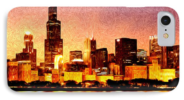 Chicago Skyline At Night Digital Painting IPhone Case by Paul Velgos