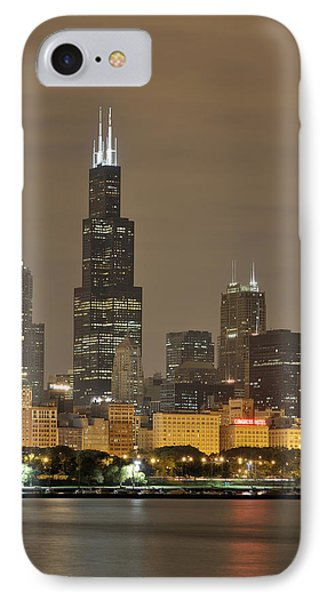 Chicago Skyline At Night IPhone 7 Case by Sebastian Musial
