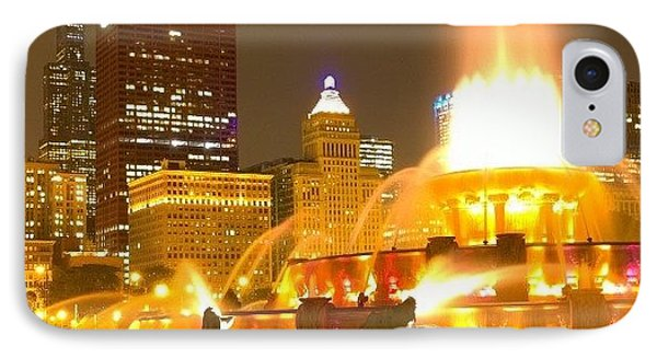 Chicago Skyline At Night With IPhone Case by Paul Velgos