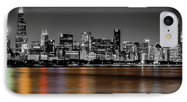 Chicago Skyline - Black And White With Color Reflection IPhone Case by Anthony Doudt