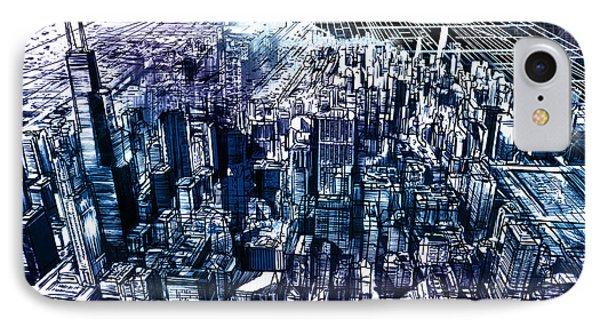 Chicago Skyline Black Verson IPhone Case by Bekim Art