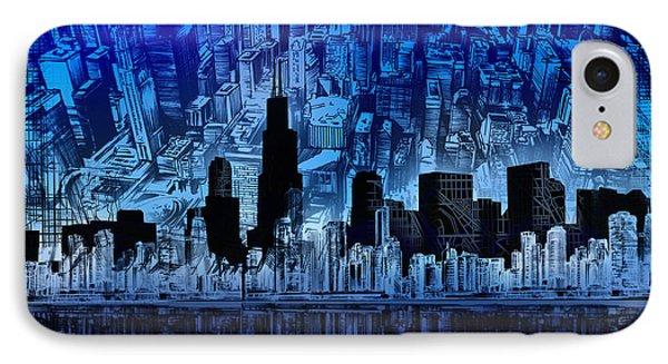 Chicago Skyline Blue Version IPhone Case by Bekim Art