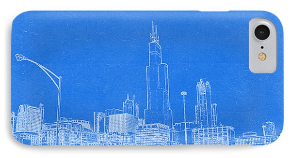 Chicago Skyline Blueprint IPhone Case by Celestial Images