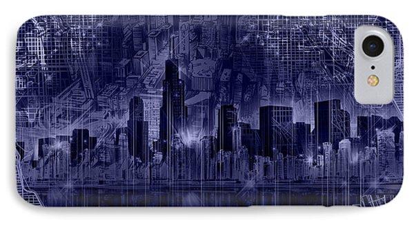 Chicago Skyline Blueprint IPhone Case by Bekim Art