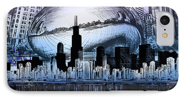 Chicago Skyline Drawing Collage 2 IPhone Case by Bekim Art