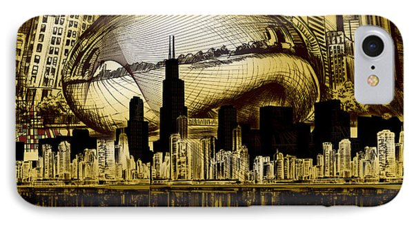 Chicago Skyline Drawing Collage 3 IPhone Case by Bekim Art