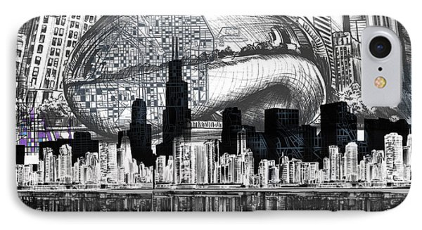 Chicago Skyline Drawing Collage IPhone Case by Bekim Art