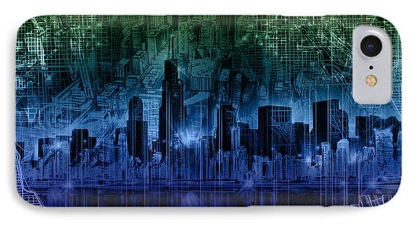 Chicago Skyline Gradient Version IPhone Case by Bekim Art