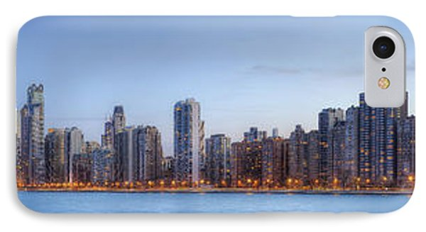 IPhone Case featuring the photograph Chicago Skyline Night Panorama by Shawn Everhart