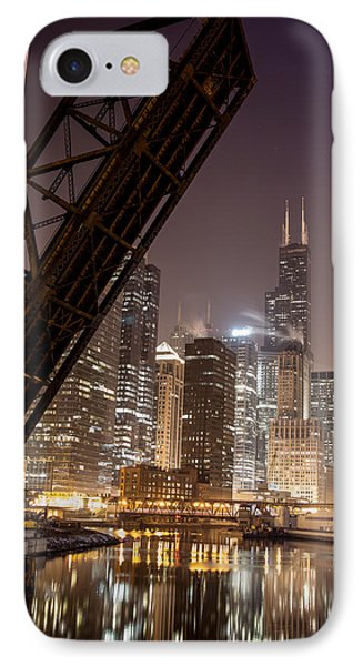 Chicago Skyline Over Chicago River IPhone Case by Michael  Bennett