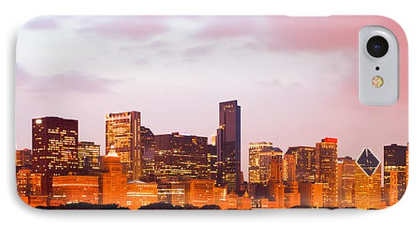 Chicago Skyline Panorama Photo At Dusk IPhone Case by Paul Velgos