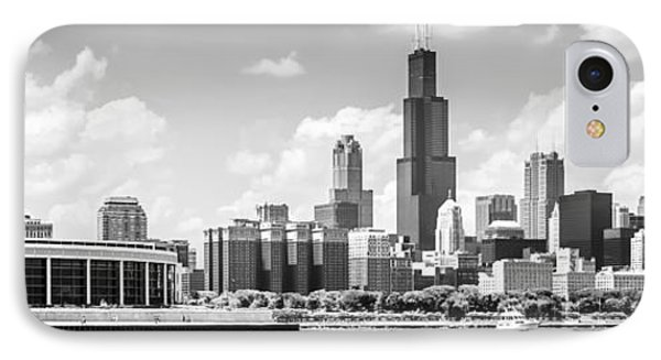 Chicago Skyline Panoramic Picture In Black And White IPhone Case
