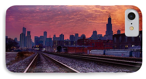 Chicago Skyline Sunrise December 1 2013 02 IPhone Case by Michael  Bennett