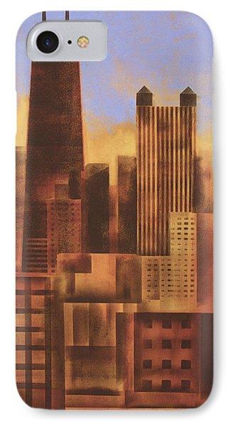 Chicago Skyline Sunset - In Neutral Tones IPhone Case by Joseph Catanzaro