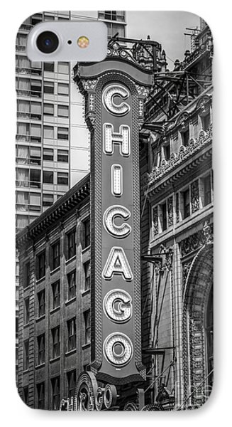 Chicago Theater Sign In Black And White IPhone Case by Paul Velgos