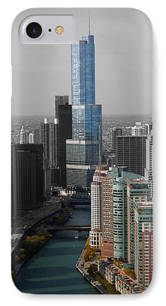 Chicago Trump Tower Blue Selective Coloring Phone Case by Thomas Woolworth