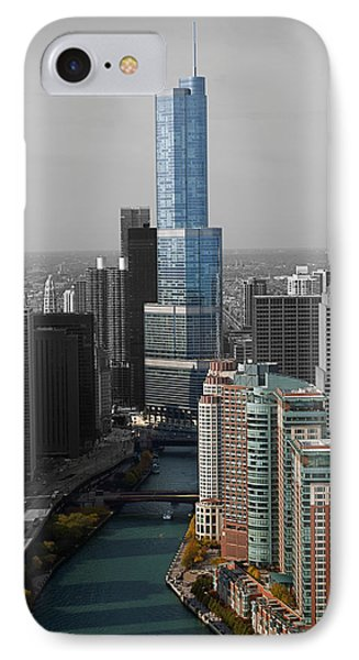 Chicago Trump Tower Blue Selective Coloring IPhone Case by Thomas Woolworth