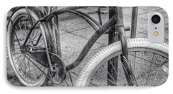 Locked Bike In Downtown Chicago IPhone Case by Paul Velgos