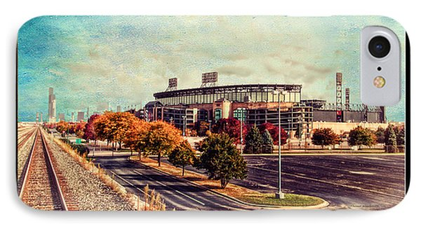 Chicago Us Cellular Field Train View Hdr Textured IPhone Case by Thomas Woolworth