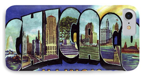 Chicago Vintage Design IPhone Case by World Art Prints And Designs
