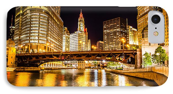 Chicago Wabash Avenue Bridge At Night Picture IPhone Case by Paul Velgos