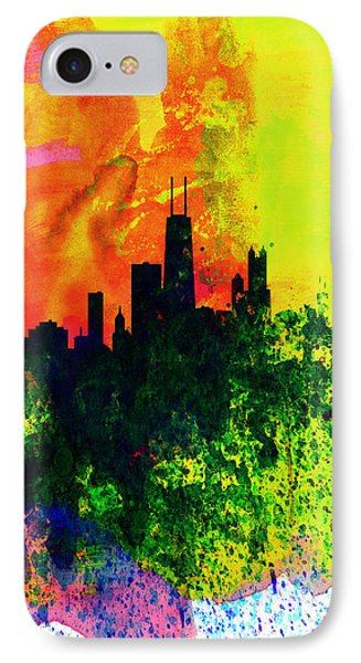 Chicago Watercolor Skyline IPhone Case