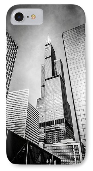 Chicago Willis-sears Tower In Black And White IPhone 7 Case by Paul Velgos