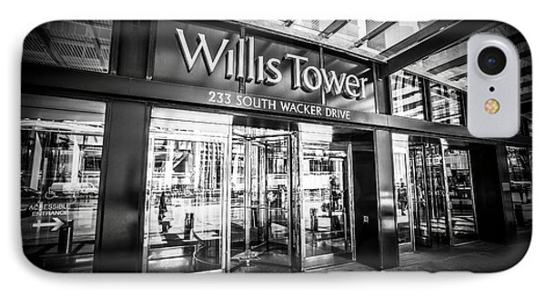 Chicago Willis-sears Tower Sign In Black And White IPhone Case