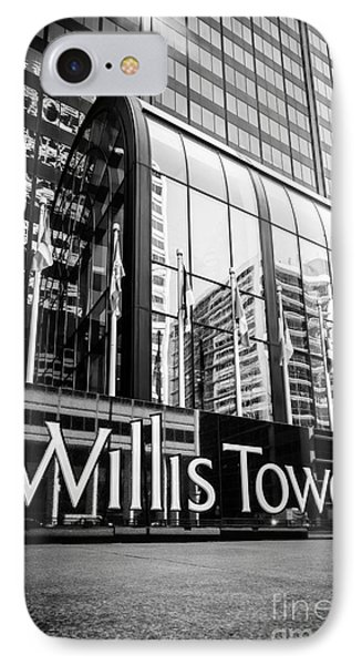 Chicago Willis Tower Sign In Black And White IPhone Case