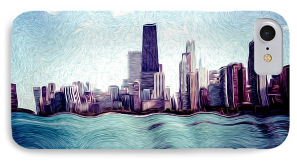 Chicago Windy City Digital Art Painting Phone Case by Paul Velgos