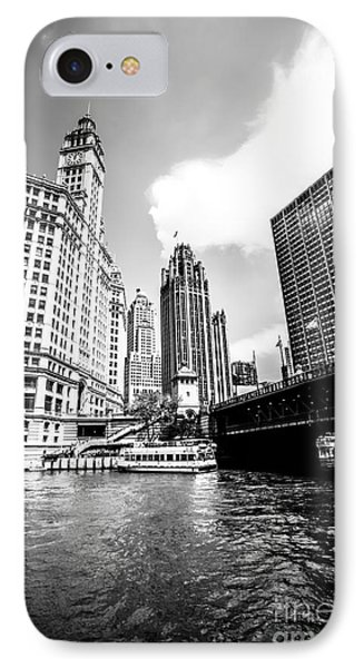 Chicago Wrigley Tribune Equitable Buildings Black And White Phot IPhone Case