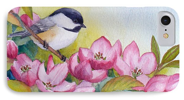 Chickadee And Crabapple Flowers IPhone Case by Janet  Zeh