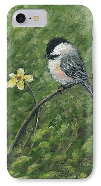IPhone Case featuring the painting Chickadee And Yellow Flower by Kathleen McDermott