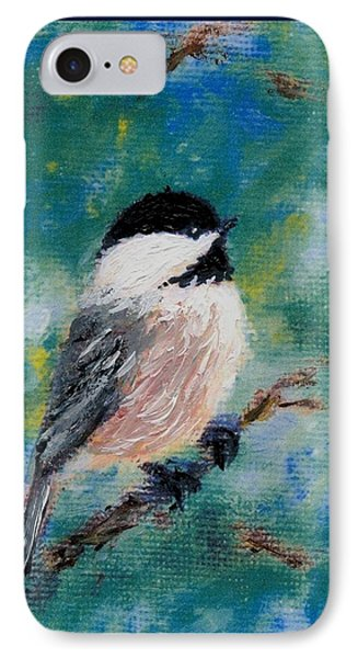 Chickadee Fine Art Card Brushstroke Enhanced Detail Print IPhone Case by Kathleen McDermott