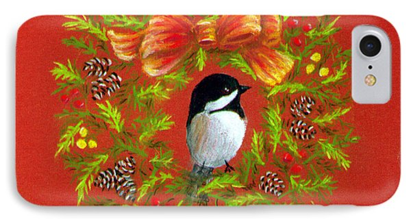 Chickadee Holiday Greeting Card IPhone Case by Judy Filarecki