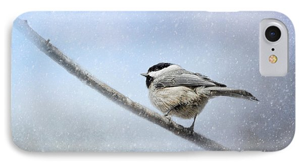 Chickadee In The Snow IPhone Case by Jai Johnson