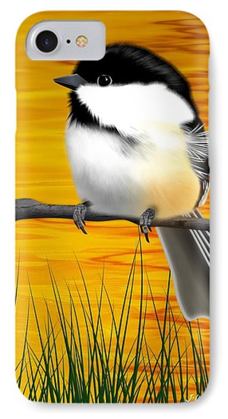Chickadee On A Branch IPhone Case by John Wills
