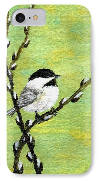 Chickadee On Pussy Willow - Bird 1 IPhone Case by Kathleen McDermott