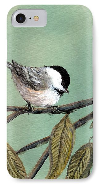 Chickadee Set 10 - Bird 1 IPhone Case by Kathleen McDermott