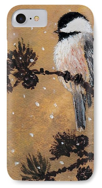 IPhone Case featuring the painting Chickadee Set 15 Bird 2 Detail Print by Kathleen McDermott