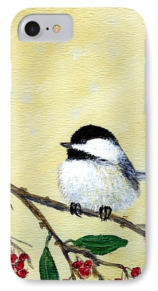 IPhone Case featuring the painting Chickadee Set 4 - Bird 2 - Red Berries by Kathleen McDermott