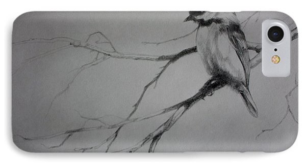 Chickadee Sketch IPhone Case by Derrick Higgins