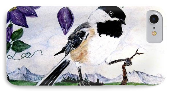 Chickadee With Blue Clematis Phone Case by Sandra Maddox