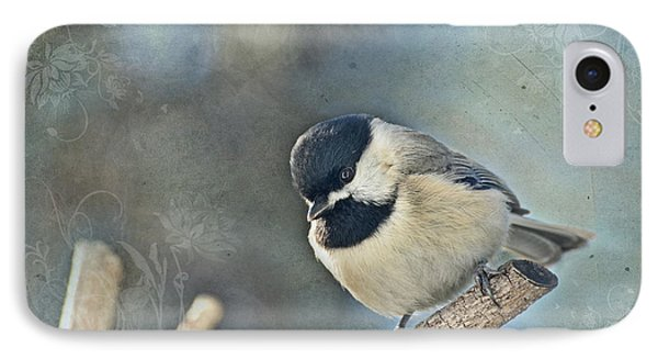 Chickadee With Texture IPhone Case by Debbie Portwood