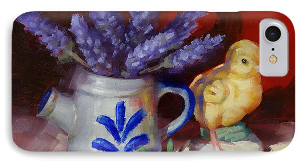 IPhone Case featuring the painting Chicken And Lavender Still Life by Margaret Stockdale