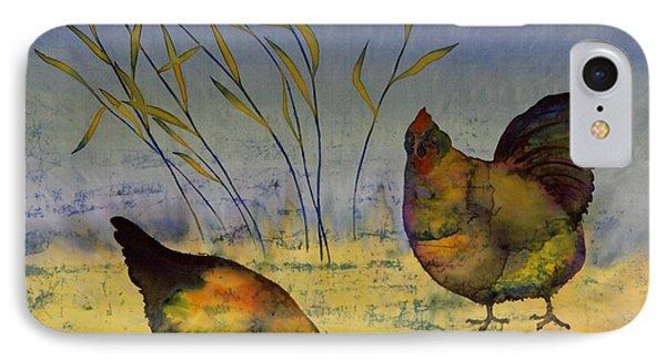 Chickens On Silk Phone Case by Carolyn Doe