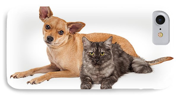 Chihuahua Dog And Gray Cat IPhone Case