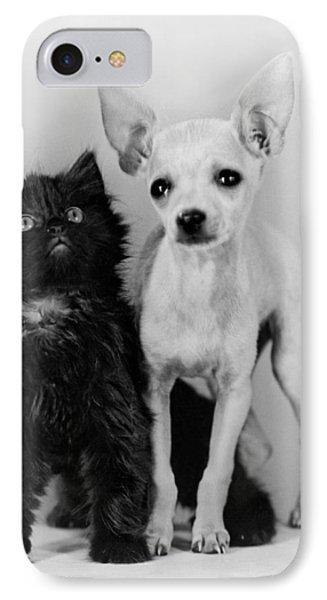 Chihuahua Has Kitten Sidekick IPhone Case by Underwood Archives