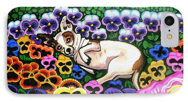 Chihuahua In Flowers Phone Case by Genevieve Esson